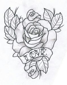 Rose and Love by ~TeroKiiskinen on deviantART Tattoo Artwork, Tattoo Design Drawings, Tattoo Sketches, Tattoo Designs, Rose Tattoos, Flower Tattoos, Body Art Tattoos, Sleeve Tattoos, Rose Zeichnung Tattoo