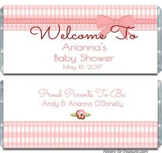 Gingham is a nice and lovely design for a baby shower. Our gingham personalized baby shower candy bar wrappers are available in baby colors as well as a bow and dainty flower.