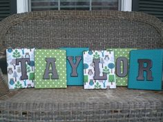 Scrapbook paper and painted wooden letters