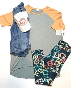 """Today's OUTFIT OF THE DAY is proof that """"lounging"""" can be cute too.  This (L) Irma and (TC) leggings pair are posted in the shop now!  Link in bio.  #lularoekarenbrown  (LuLaRoe style, LuLaRoe fashion, LuLaRoe outfit, LuLaRoe inspiration, LuLaRoe, LuLaRoe Irma, lularoe leggings)"""