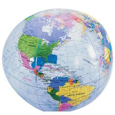 Inflatable globe atlas world map earth beach ball map earth 12 inch clear globe inflate case of 216 gumiabroncs Images