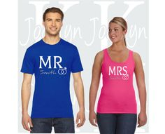 Check out this item in my Etsy shop https://www.etsy.com/listing/385684416/mr-mrs-last-name-matching-couples-t