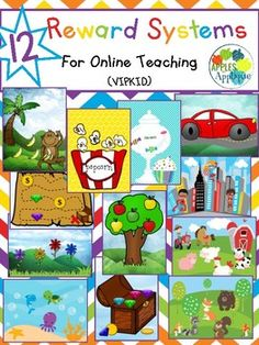 These easy-to-implement rewards systems are perfect for your online classroom! Use with magnets or Velcro for 12 new engaging reward systems! Included are: Treasure Chest with Gems and Coins Treasure Map with Gems and Coins Candy Jar Build-a-Car Give a Monkey a Banana Bucket of Popcorn Apple Tree Super