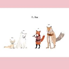 F is for Fox card by Katie Viggers, illustration taken from her book Almost an Animal Alphabet