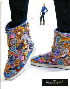 "Pattern available to buy for these fabulous ""Boots"" from Zhurnal MOD Fashion Magazine 562 Russian knit and crochet patterns."