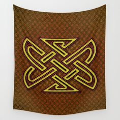 CELTIX #2.4 Vibrant Psychedelic Celtic Optical Illusion Design Wall Tapestry