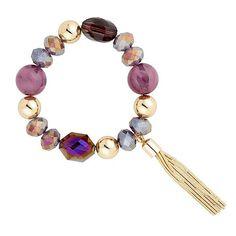 Mood Semi Precious Effect Multi Purple Bead And Tassel Drop Bracelet