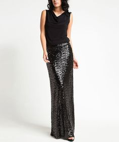 Another great find on #zulily! Black Sequin Maxi Dress #zulilyfinds