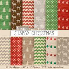 Christmas digital paper SHABBY CHRISTMAS with dirty old by Grepic, $4.90