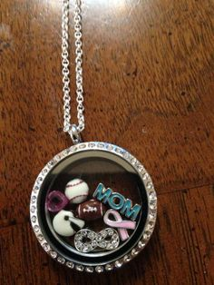 #Origami Owl Large Locket. MOM to 2 boys Boys play football and baseball breast cancer awareness love my family to infinity  October birthstone for birthday of mom and 2 sons.