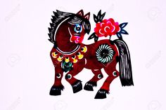 Chinese Folk Art Paper Cutting - Zodiac Horse Stock Photo, Picture And Royalty Free Image. Image 4320513.