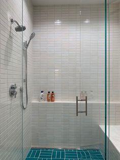 Teal Naples Blue and White Tusk Beachy Bathroom | Fireclay Tile