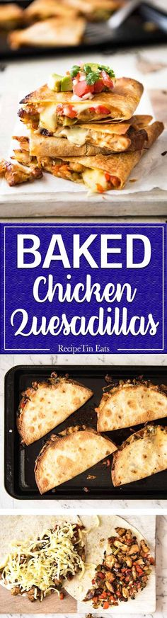 Crispy Oven Baked Chicken Quesadillas - This is how to make multiple Quesadillas at the same time! Crispy on the outside, stuffed with Mexican seasoned chicken and capsicum / bell peppers (and cheese (Mexican Chicken Quesadillas) Mexican Dishes, Mexican Food Recipes, Crispy Oven Baked Chicken, Recipetin Eats, Recipe Tin, Chicken Quesadillas, Chicken Seasoning, Turkey Recipes, Cooking Recipes