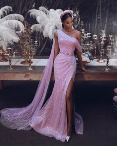 lol 2 Sparkly One-Shoulder Slit Pailletten Abendkleid Sequin Evening Dresses, Evening Dresses Online, Gala Dresses, Event Dresses, Dress Online, Evening Gowns Couture, Couture Dresses Gowns, Beautiful Gowns, Stunningly Beautiful