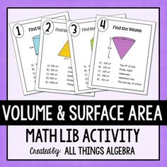 Volume and Surface Area: Math Lib Activity