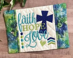 What a lovely reminder that faith, hope and love are the three gifts that God gives us today that will remain throughout all eternity. This beautiful 1 Corinthians 13:13 mug rug would make a thoughtful Mother's Day gift, a birthday gift or a gift for a Christian friend. #faithhopelove #Christiangift #birthdaygiftidea Christian Friends, Christian Gifts For Women, Gift Of Faith, Embroidered Gifts, Popular Colors, Faith Hope Love, Coffee Lover Gifts, Hostess Gifts, House Warming