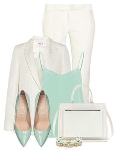 """Mint and White"" by bliznec ❤ liked on Polyvore featuring Mode, PALLAS, Vero Moda, Buffalo, Victoria Beckham und Slate & Willow"
