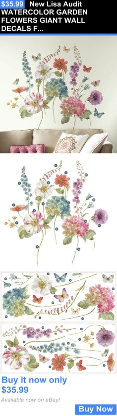 Lisa Audit WATERCOLOR GARDEN FLOWERS GIANT WALL DECALS New Floral Stickers Decor