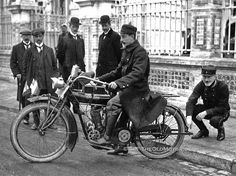 A military motorcycle courier from the Belgian Government at Le Havre, France, circa 1914, astride a single-cylinder Indian.