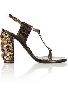 Lanvin Embellished metallic snake-effect leather sandals | NET-A-PORTER