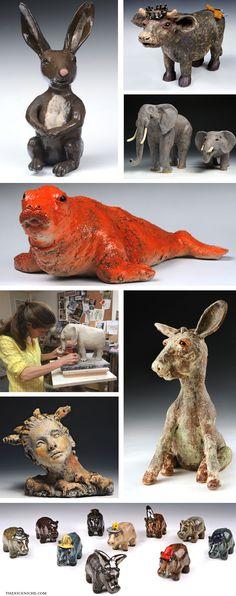Trinka Roeckelein #Sculptor #Animals #Botswana #Nature #Sculpture #Whimsical #Art #TheNiceNiche #Clay