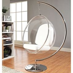 Create a futuristic sci-fi look in your home with this silver bubble chair that uses silver to create to a space-age appearance. This chair is a reproduction of the Eero Aarnio original. The seat hangs from the frame and allows freedom of movement.