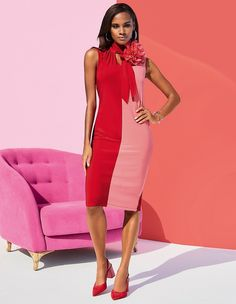 Sleeveless jersey dress with two-tone front, red/flamingo, pink, red Madeleine Fashion, Short Dresses, Dresses For Work, Evening Dresses, Summer Dresses, Knit Dress, Dress Making, Dress Outfits, Bodycon Dress