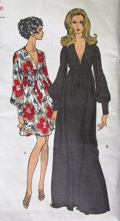 Vtg 70s VOGUE Sewing Pattern #7630 PUFFY Sleeve V-Neck Boho Party Maxi Dress 12