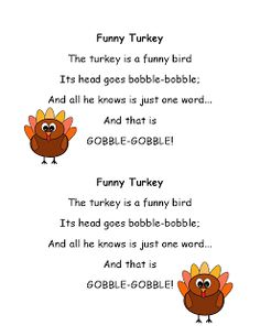 Literacy Minute: Turkey Poems for Thanksgiving- first grade PUP