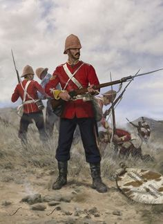Islandwana, A terrible defeat for the British at the hands of the Zulu. Shortly thereafter, the Zulu were repelled at Rorke's Drift. British Army Uniform, British Uniforms, British Soldier, Military Art, Military History, Military Fashion, Military Costumes, Military Uniforms, British Armed Forces
