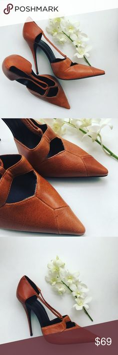 NARCISCO RODRIGUEZ Vintage Heels Burnt orange will set fire to each step you take in these beauties. Vintage style makes this the staple item of an outfit. Straps adhere to the shape of your foot. Narciso Rodriguez Shoes Heels