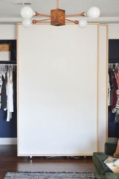 DIY Bypass Closet Doors- since the weight of the doors is on the wheels, use a wooden dowel for the top guide and save a few bucks. that pipe is expensive