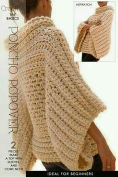 Sweter ancho Poncho De Ganchillo 5464fc6a376a