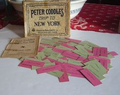 "Here's how to play ""Peter Coddle's Trip to New York"", a simple word game that was wildly popular in 19th century America. In the game box, there's a story of..."