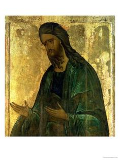 Icon of St John the Baptist by Andrei Rublev. Andrei Rublev is considered by many to be the greatest medieval Russian painter of Orthodox icons and frescoes. Byzantine Icons, Byzantine Art, Russian Icons, Russian Art, Religious Icons, Religious Art, Religious Images, Andrei Rublev, John The Baptist