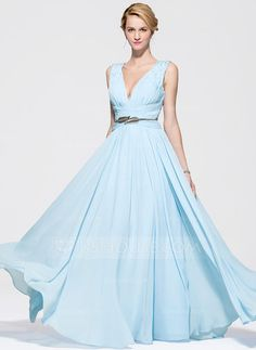 A-Line/Princess V-neck Sweep Train Chiffon Prom Dress With Ruffle Beading Sequins (018075861) - JJsHouse