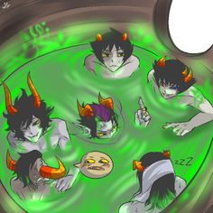 "Tavros: uHHHH GAMZEE WHAT ARE YOU-? Gamzee: hOnK <3<3 Eridan: Fuck you land dwweller  Sollux: 2up Ampora Equius: ZzZzZ *continues to sleep*  Karkat: *slowly realizing they are all naked in a pod together...* ""FUCK!"""