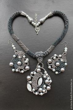"""Колье и серьги из бисера """"Благородные сумерки"""". Handmade.  #bead"""