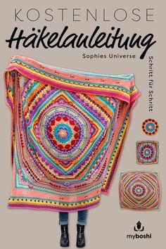Crochet along Mandala Decke häkeln (gratis Häkelanleitung) With the free crochet pattern for the mandala blanket Sophies Universe, you crochet yourself a beautiful, summer … How To Start Knitting, Learn To Crochet, Easy Crochet, Crochet Baby, Free Crochet, Motif Mandala Crochet, Mandala Blanket, Crochet Motifs, Mandala Pattern