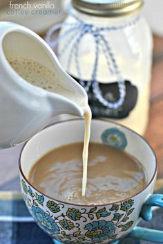 French Vanilla Coffee Creamer. Homemade using only 3 ingredients: condensed milk, vanilla and milk! @Candace Renee Renee Renee Desmond I'm going to give this a shot! | French Vanilla Creamer, Vanilla Coffee Creamer, Homemade Coffee Creamer, Coffee Creamer Recipe, Cinnamon Coffee, My Coffee, Coffee Drinks, Coffee Time, Coffee Break