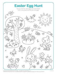 Free coloring page for Easter from illustrator Julissa Mora
