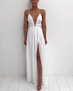 all white party Sexy White Chiffon Deep V-Neck Floor Length Slit Maxi Long Prom Dress,Spaghetti Strap Party Dress With Open Back from Queenparty Fairy Wedding Dress, Wedding Dress Sleeves, Long Sleeve Wedding, Wedding Dresses, Gala Dresses, Summer Dresses, White Party Dresses, White Outfit Party, V Neck Prom Dresses