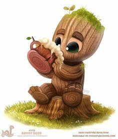 Daily Paint Groot Beer by Cryptid-Creations on DeviantArt Cute Animal Drawings, Cute Drawings, Baby Groot Drawing, Animal Puns, Animal Food, Groot Guardians, Disney Phone Wallpaper, Painted Books, Cute Cartoon Wallpapers