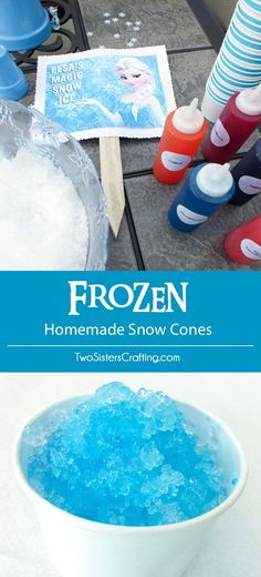 Frozen Homemade Snow Cones and Syrup - a great treat for a Frozen Birthday Party and so easy to make! They really hit the spot in a Frozen Party held in the summer. Follow us for more fun Frozen Party Ideas.