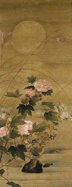 Flowers of Autumn at Water's Edge  By Keibun Matsumura (1779-1843)  Edo Period, 18th-19th century
