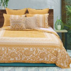 Barefoot Bungalow Mykonos Gold Twin Quilt Set - The Home Depot Mykonos, Bungalow, Most Comfortable Sheets, Quilt Sets Queen, Online Bedding Stores, Quilted Pillow Shams, Twin Quilt, Affordable Bedding, Cool Beds