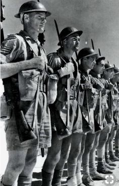 Soldiers of the Australian 9th Infantry Division prepare to move out for the beginning of the second Battle of El Alamein. October 1942.