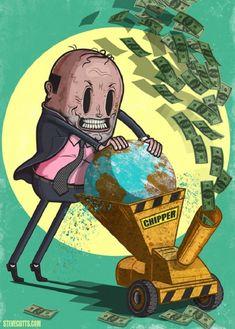 L'horrible et triste réalité du monde moderne, par Steve Cutts Caricatures, Satire, Satirical Illustrations, Save Our Earth, Political Art, Environmental Art, Grafik Design, Climate Change, Cool Pictures