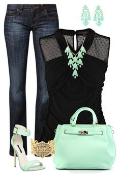 """Mint and Black"" by c-michelle ❤ liked on Polyvore featuring CROSS Jeanswear, Coast, Steve Madden, Kate Spade and IaM by Ileana Makri"