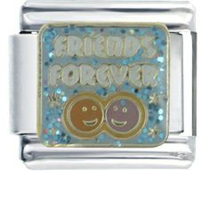 Pugster White Friends Forever Letters & Phrases Italian Charm Bracelet Pugster. $10.99. Metal: Stainless Steel. Size (mm): 9*5*9. Other: Soldered not glued!. Paint Type: ENAMEL. Plating: GOLD TONE. Save 17%!